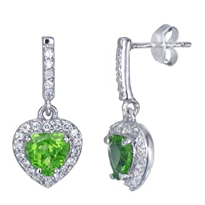 2 CT Heart Shape Peridot Earrings In Sterling Silver from FineDiamonds9