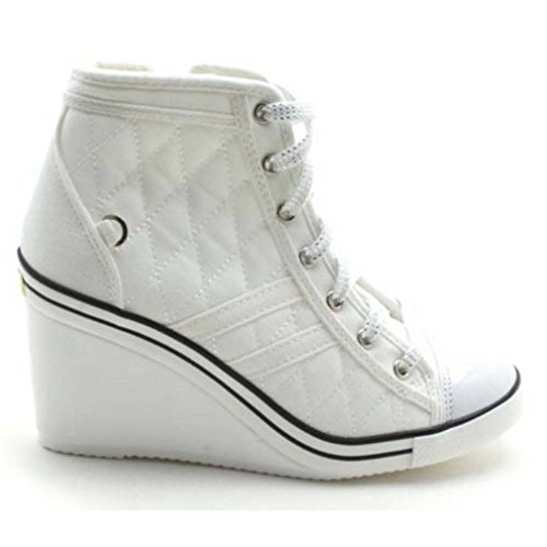 Image of EpicStep Women's White Canvas Shoes High Top Wedges High Heels Quilted Casual Fashion Sneakers 7.5 M US