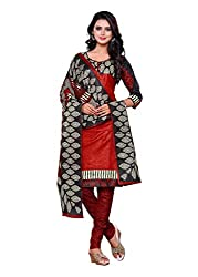 Salwar Style Design Women's Cotton Unstitched Salwar Suit Dress Material (SS1019_Free Size_Maroon & Black)