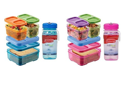 Rubbermaid Lunch Blox Kids Lunch Kit with 14oz Rubbermaid Refill Reuse Bottles (Pink & Blue) - 1
