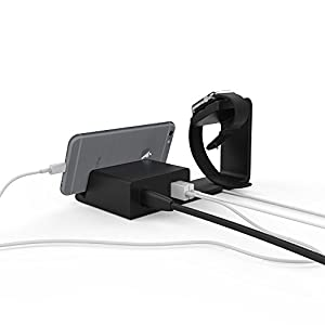 Element Works Dual 2-in-1 Charging Stand & Dock for Apple Watch and Apple iPhone. Complete with 2 built-in USB ports and wall charger. Compatible with all Apple Watch & iPhone models.