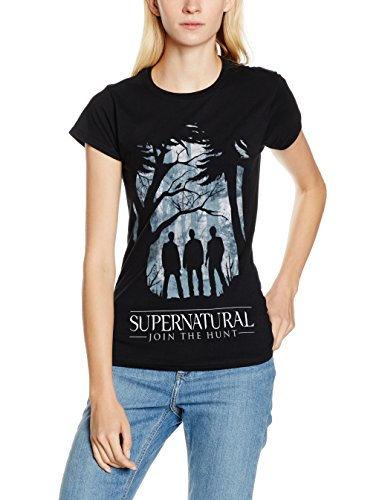 CID Supernatural-Group Outline W, T-Shirt Donna, Nero, Small