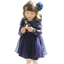 Little Hand Kids Girls Toddler Rose Floral Polka Dot Lace Ruffle Dress 1-6 Years 2T Dark Blue