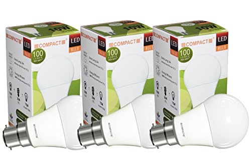 10W B22 LED Bulb Warm White (Pack of 3)