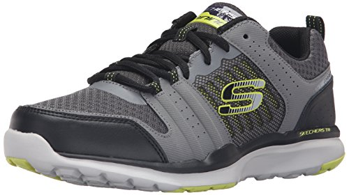 Skechers Sport Men's Quick Shift Tr Oxford Sneaker, Charcoal/Lime, 11 M US