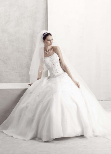 David&#8217;s Bridal Wedding Dress: Petite Satin Bodice with Organza Skirt and Beading Style 7CT258