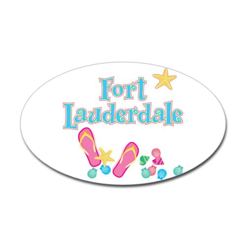 Cafepress Ft Lauderdale Flip Flops - Oval Sticker Sticker Oval - 4.5X7.5 White back-489921