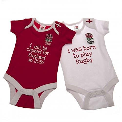 Inghilterra RFU Ufficiale Rugby Regalo Baby Body (Confezione da 2) (6-9mesi), un ottima idea regalo di natale/Compleanno per bambini