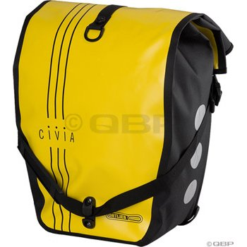 Civia Vert Stripes Waterproof Rear Pannier: Yellow