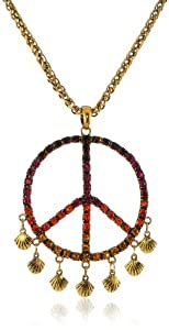 "Betsey Johnson ""St. Barts"" Crystal Peace Sign Woven Long Pendant Necklace, 46"""