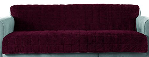 Surefit Faux Fur Throw Armless Sofa/Stool Cover, Sangria