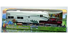 Amazon.com: Camping Adventure 1:32 Ford Fifth Wheel Camping Set Truck