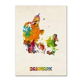 Trademark Fine Art Denmark Watercolor Map Artwork by Michael Tompsett, 14 by 19-Inch