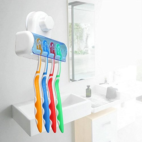 BatterElec(TM) Easy Toothbrush Suction Cups Holder Stand 5 Racks Home Bathroom Wall Mount