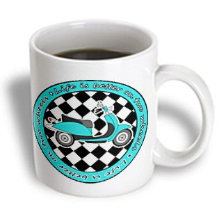Janna Salak Designs Retro Designs - Blue Retro Scooter - Life Is Better On Two Wheels - 15Oz Mug (Mug_77575_2)