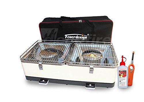 Holzkohle Tischgrill SANTORIN – Rauchfrei – v. Feuerdesign – Cremeweiss im Spar Pack mit Brennpaste und Stabfeuerzeug jetzt bestellen