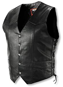 Interstate Leather Men's Basic Vest with Side Lace (X-Large)