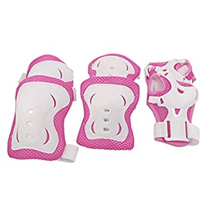 uxcell Children Fuchsia Wht Knee Palm Elbow Protective Support