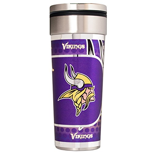 NFL Minnesota Vikings Travel Tumbler with Metallic Graphics, 22-Ounce, Silver
