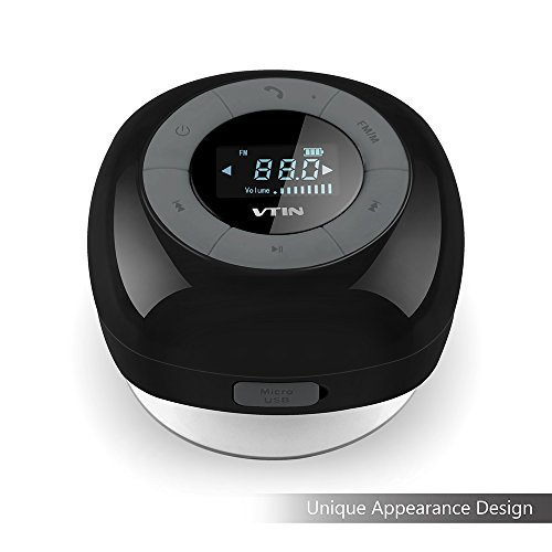 VicTsing 吸盤式Bluetooth4.0スピーカー FMラジオ搭載 デジタルチューナー液晶LCDディスプレイ搭載 お風呂にも使える防水スピーカー コール用のマイク内蔵 8時間スーパーロングリチウムイオン電池クリスタルクリアなサウンド、サブウーファーサウンド?エフェクト/シリiPhone 6/6 plus, 5/5s, Samsung Galaxy S6,Sony Xperia Z4 Z3など対応 1年間の安心保証 (ブラック)