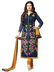 shubham creation women's blue master cottan dress material