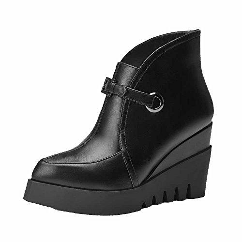 AgooLar Donna Tacco Alto Bassa Altezza Puro Fibbia Stivali con Fibbia In Metallo, Nero, 38