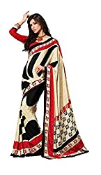 Design Willa Bollywood Style Smooth Crepe Sari (DWSM006,Red and cream with Black)