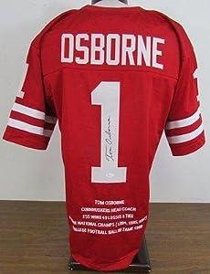 Signed Tom Osborne Jersey - Stat JSA W387767 - Autographed College Jerseys