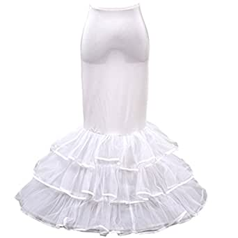 HIMRY Design en y sirène jupon jupon Crinoline jupon nuptiale de mariage, 1 cerceau 3 couches, KXB-002