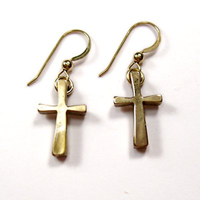 Small Cross Peace Bronze Earrings - Cast From Disarmed Nuclear Weapon Systems [Jewelry]
