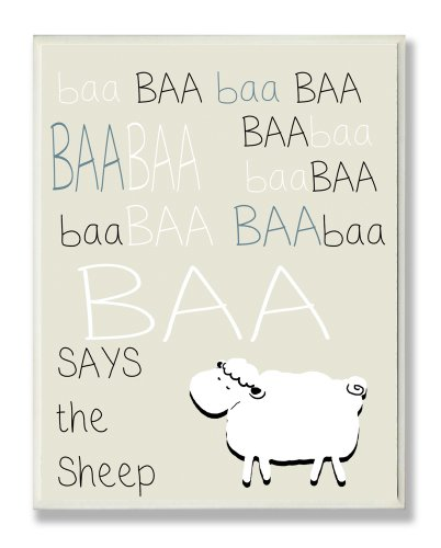 The Kids Room by Stupell Baa Baa Sheep Silouhette on Beige Background Rectangle Wall Plaque