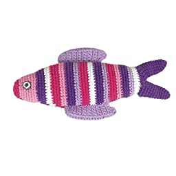 Sindibaba Hand-Crocheted Rattle Fish with Stripes (Coral)