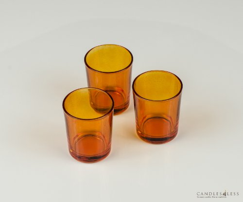 Amber Glass Votive Candle Holders (Set of 12)