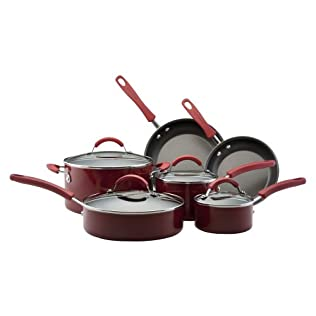 KitchenAid Classic 10 piece Aluminum Nonstick Cookware Set - Red