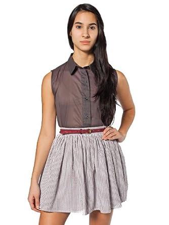 American Apparel Seersucker Full Woven Skirt - White Brown Seersucker / XS