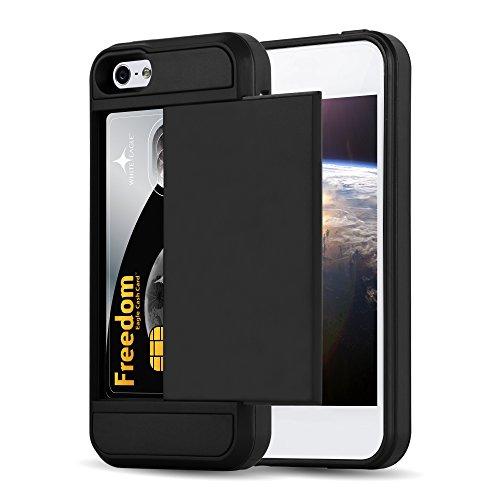 Cadorabo - Custodia Ibrido 'Cassaforte' per Apple iPhone 5 / 5S de silicone TPU e plastica rigida en disegno Outdoor Heavy Duty con nascoste Vani di Carte - Case Cover Involucro Bumper in CASSAFORTE-NERO
