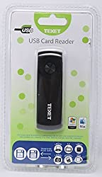 Texet CR-1 High-Speed USB Card Reader in Black for SD|MMC|MMC 4.0|SDHC|RS MMC|RS MMC 4.0 and Micro SD Cards