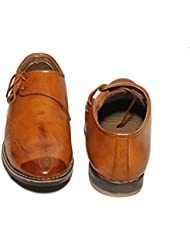 Fashion Victory Mens Tan Brown Leather Lace Up Shoes 8