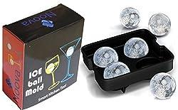 ICE TRAY - Noova Ice Tray Ball Maker Juice / Whiskey Ice Ball Mold Premium Round Spheres 4x4.5cm Ball Capacity Flexible Food Grade Silicone Material for Fridge