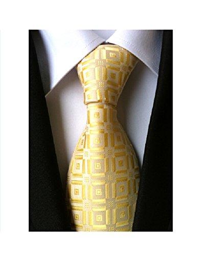 New Classic Checks Golden Yellow 100% Silk Men's Tie Business Wedding Necktie (Men Ties Yellow compare prices)