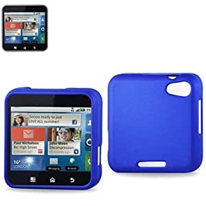 Reiko Rubberized Protector Cover for Motorola Flipout MB511 - Retail Packaging - Blue