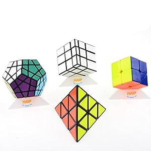 Magic Cube, Haip Pyraminx, Megaminx, Silver Mirror, 2x2 Magic Cube Speed Cube 8 PCS Set (Base Holders Included)