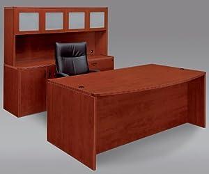 Fairplex Executive One Pedestal Standard Desk/Storage Office Suite Finish: Cognac Cherry, Door: Glass Door