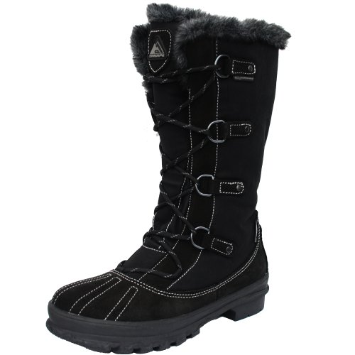 C. Swain Damenstiefel Winter Stiefel Ida mit Fell Kragen, Farbe: Black, Größe: 36