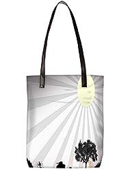 Snoogg Sun Rays Womens Digitally Printed Utility Tote Bag Handbag Made Of Poly Canvas With Leather Handle