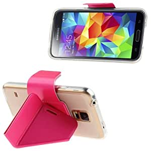 Horizontal Flip Leather Case with Foldable Cover Holder for Samsung Galaxy S5 G900 in Magneta