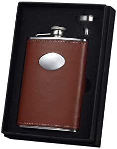 """Visol """"Leather Wrapped Stainless Steel Flask Gift Set with Funnel, 8-Ounce, Brown"""