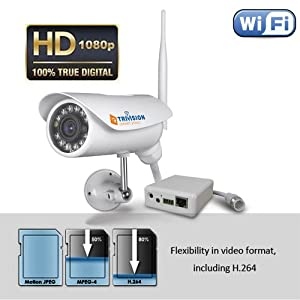 TriVision NC-336W HD 1080P IP Security Camera Outdoor Weatherproof Wi-Fi Wireles with Facial and Car License Plate Recognitin in 30 Feet and Install in 3 Steps with Our Free Dedicated Apps on iPhone, iPad, Android Smartphone and More