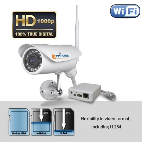 Trivision Nc-336W Hd 1080P Wireless Ip Security Camera System Outdoor, Ip66-Rated Weatherproof, Infrared Night Vision, Motion Detection Triggered Email Alerts, Built-In Microsd Card Dvr, Total In 3 Steps With Our Free Plug And View Apps For Iphone, Ipad,