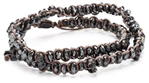 M.Cohen Hand made Designs Hemetite with Oxidized Sterling Silver Skulls on Tan Cord Double Wrap Bracelet